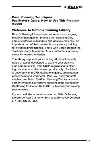 Betco's Training Library - Betco Corporation