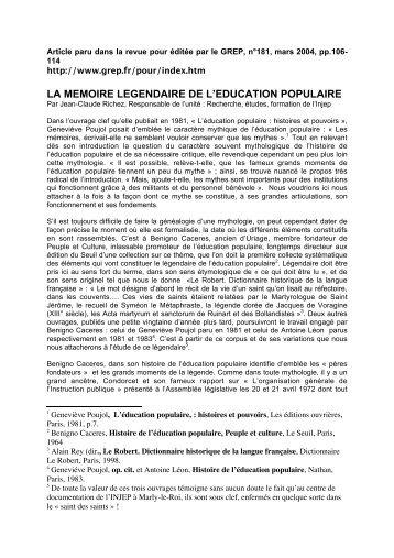 LA MEMOIRE LEGENDAIRE DE L'EDUCATION POPULAIRE - Injep