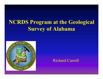 NCRDS Program at the Geological Survey of Alabama