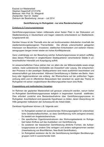 Gentrifizierung im Ruhrgebiet - nur eine Randerscheinung?
