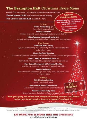 The Brampton Halt Christmas Fayre Menu - Mcmanus Pub Company