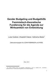 Gender Budgeting und Budgethilfe Feministisch ... - OneWorld