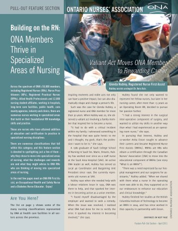 ona Members thrive in Specialized areas of nursing - Ontario Nurses ...
