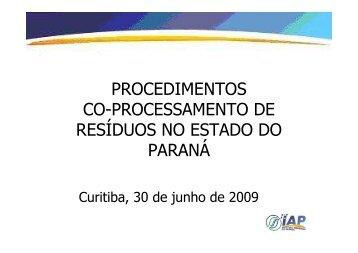 Co- Processamento de resíduos no estado do Paraná - Conselho ...