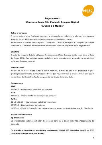 """1 Regulamento Concurso Senac São Paulo de Imagem Digital """"A ..."""