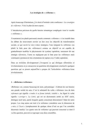 """Les stratégies de """"réforme"""" - Institut d'Histoire Sociale CGT"""