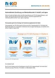 Anzeige von Bestandskunden in bank21 und agree - Zur R+V24