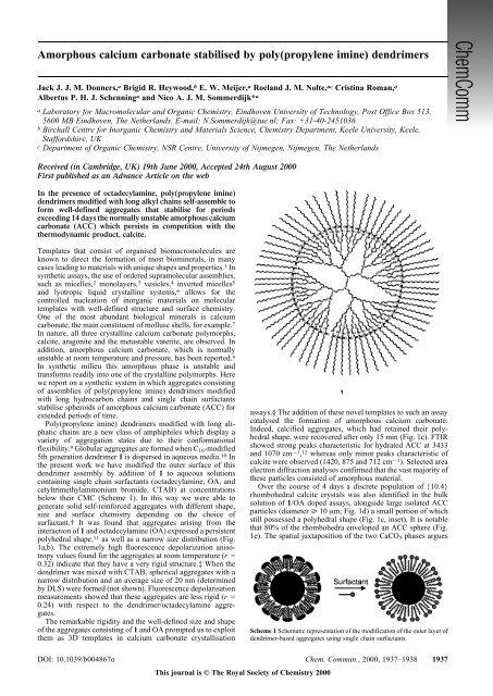 Amorphous calcium carbonate stabilised by poly(propylene imine ...