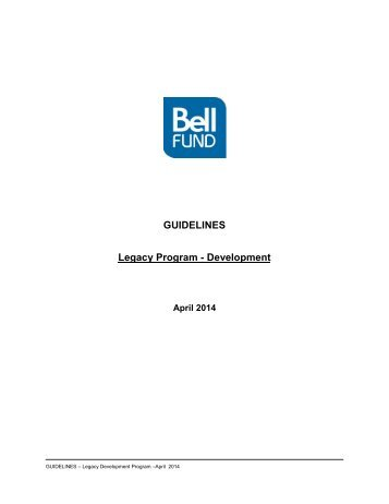 Guidelines - Legacy Development Program - Bell Fund