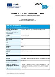 ERASMUS STUDENT PLACEMENT OFFER