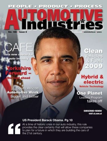 US President Barack Obama. Pg 10 - Automotive Industries