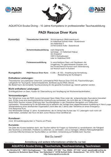 Kursinhalte PADI Rescue Diver Kurs - AQUATICA