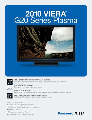 2010 VIERA® G20 Series Plasma - Home Theater HDTV