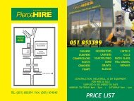 price list 051 853399 - Pierce Hire Ltd