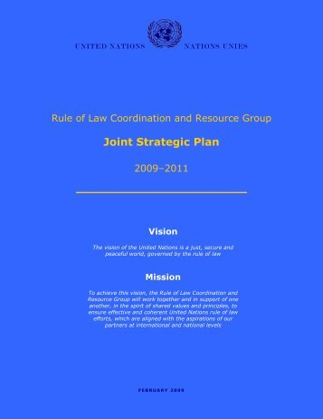 RoLCRG Joint Strategic Plan - United Nations Rule of Law