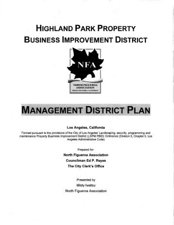 HIGHLAND PARK PROPERTY BUSINESS IMPROVEMENT DISTRICT