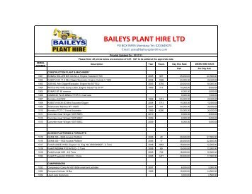 New Copy of Stock List Hire Rates - Baileys Plant Hire Ltd