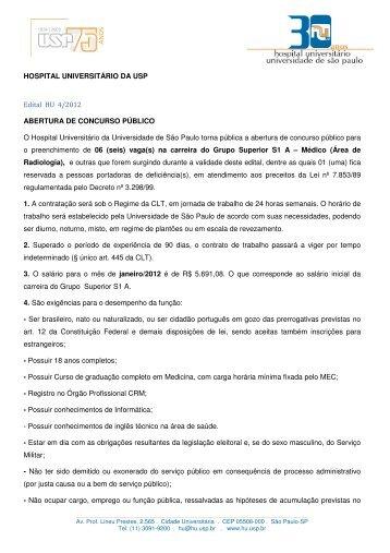 HOSPITAL UNIVERSITÁRIO DA USP Edital HU 4/2012 ABERTURA ...