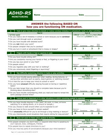 adult adhd questionnaire test