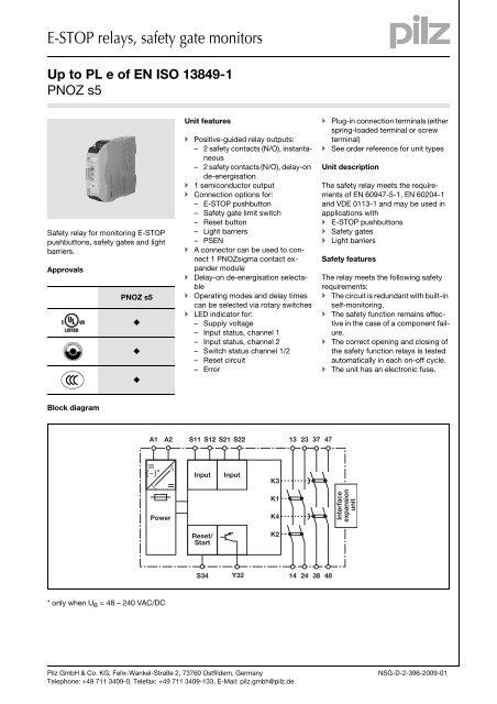 750135 NEW! Pilz PNOZ s5 Safety Relay 48-240V AC//DC