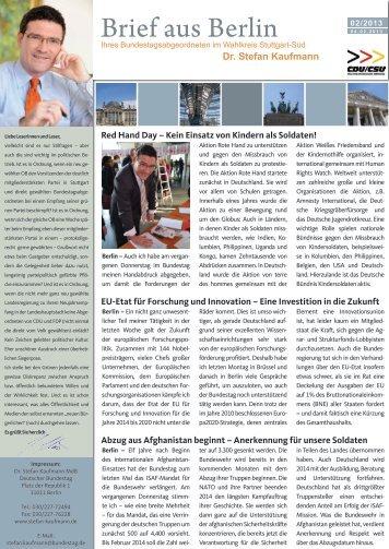 Brief aus Berlin 2013/2 - Stefan Kaufmann