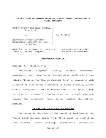 Carbon County Tax Claim Bureau vs. Ridgewood Country Estates ...