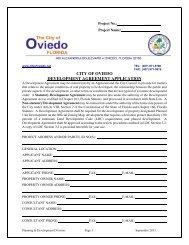 CITY OF OVIEDO DEVELOPMENT AGREEMENT APPLICATION