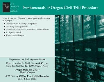 Fundamentals of Oregon Civil Trial Procedure - Oregon State Bar ...