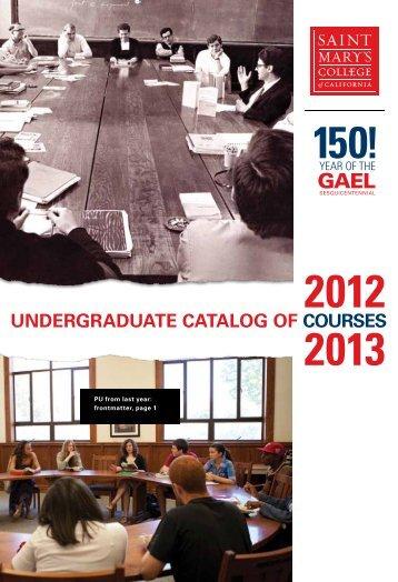 2012-2013 Catalog - Saint Mary's College of California
