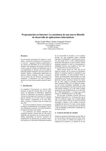 Programación en Internet: La enseñanza de una nueva filosofía de ...