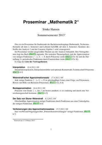 """Proseminar """"Mathematik 2"""""""