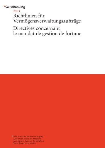 Richtlinien Vermıgen - Association suisse des banquiers