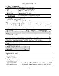 A TANTÁRGY ADATLAPJA 1. A képzési program adatai 1.1 ...