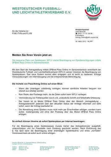 Pass online - Fußball und Leichtathletik Verband Westfalen eV