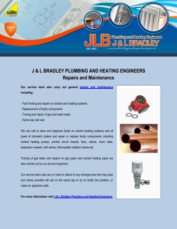 Repairs and Maintenance of J & L Bradley Plumbing and Heating Engineers