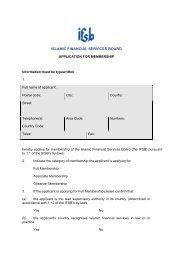 ISLAMIC FINANCIAL SERVICES BOARD - IFSB