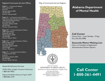 Call Center Brochure - Alabama Department of Mental Health ...