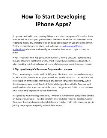 How To Start Developing iPhone Apps?