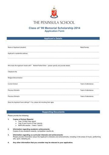 Memorial Scholarship Application Form   The Peninsula School