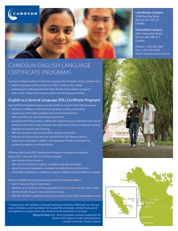 English Language Certificate Programs - Camosun College