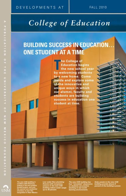 Fall 2010 - College of Education - University of New Mexico