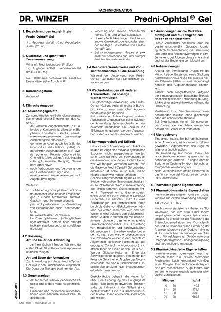 DR. WINZER Predni-Ophtal® Gel - Dr. Winzer Pharma