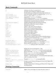 MATLAB Cheat Sheet Basic Commands Plotting     - Karen A