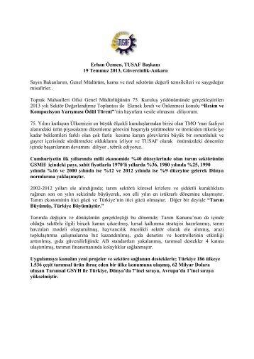 Erhan Özmen, TUSAF Başkanı 19 Temmuz 2013, Güvercinlik ...