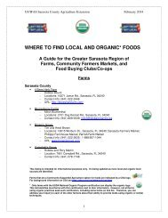 where to find local and organic* foods - Sarasota County Extension ...