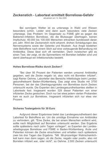 Zeckenstich - Labortest ermittelt Borreliose-Gefahr