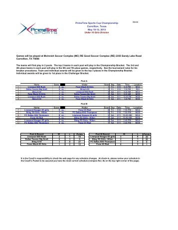 Under 10 Girls Division Schedule and Results - Prime Time Sports