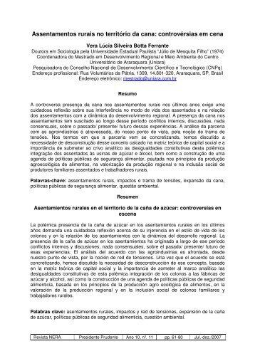 Assentamentos rurais no território da cana: controvérsias ... - UNESP