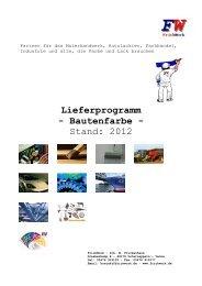 Lieferprogramm - Bautenfarbe - Stand: 2012 - FrickWork