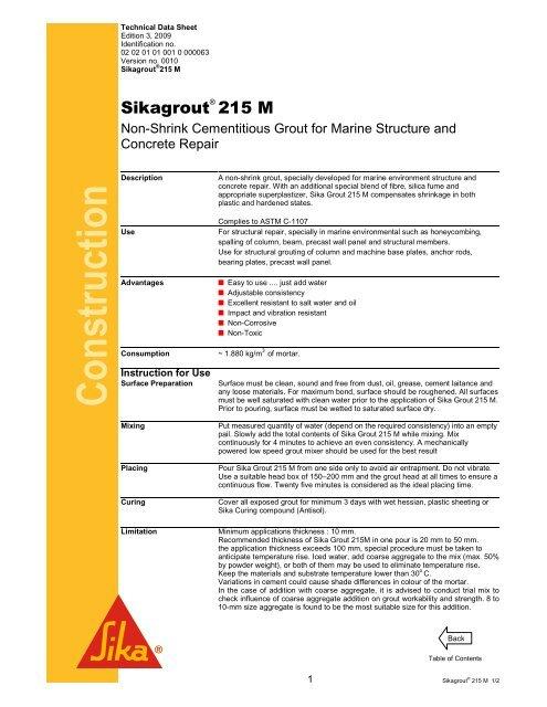 Sikagrout 215M pdf - Jaya Raya Utama